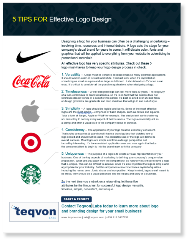Logo Design Tip Sheet -Teqvon Labs Resources
